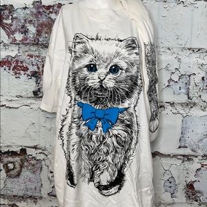 Vintage kitty cat gown with slipper socks OSFM